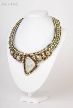 Green bronze necklace Beaded embroidery bib collar necklace