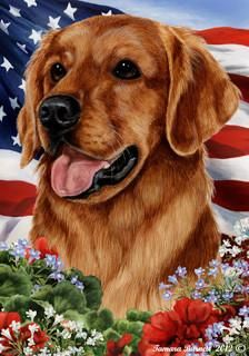 Golden Retriever Tamara Burnett Patriotic Flag Dog Breeds Dark