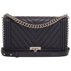 Preowned Chanel Navy Chevron Quilted Lambskin New Medium Boy Bag ($6,975) ❤ liked on Polyvore featuring bags, handbags, blue, navy handbags, navy blue handbags, chanel bags, pocket purse and lambskin purse