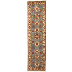 Herat Oriental Indo Hand-knotted Tribal Kazak Light / Ivory Runner