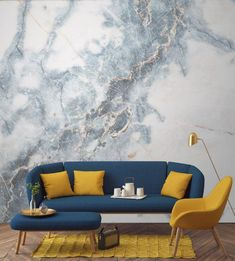 Deep Blue Clouded Marble Wall Mural Create A Decadent Feature Wall In Your Home With This Marble Wallpaper A Strike Through Of Powder Blues Add Drama And Intrigue To Your Walls Pair With Darker Furnishings To Create The Perfect Living Room Space Living Room Designs, Living Room Decor, Living Rooms, Feature Wall Living Room, Usa Living, Feature Walls, Look Wallpaper, Wallpaper Murals, Bedroom Wallpaper