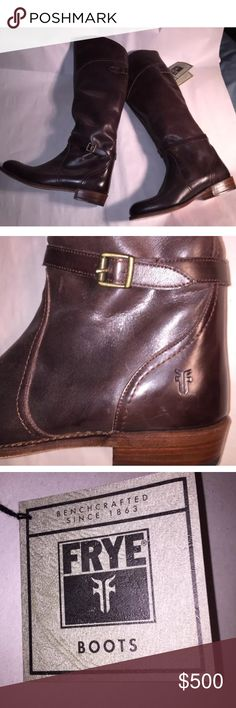 NWT Frye chocolate brown knee high RIDING BOOTS BWT Frye chocolate brown knee high RIDING BOOTS with buckle and strap accent at the ankle. SIZE 10.     made in the USA.  RETAIL $580 Frye Shoes Heeled Boots