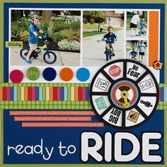 Scrapbook bike page - Cute layout for all the photos I have of the kids back…