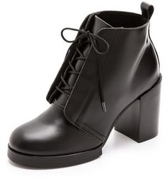 Cheap monday Chunky Heel Lace Up Booties on shopstyle.com