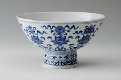 A Chinese Imperial porcelain blue and white Stem Bowl, Qianlong seal mark and period, 1736-1795.  Photo courtesy Sworders