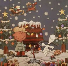 Charlie Brown Y Snoopy, Snoopy Love, Charlie Brown Christmas, Snoopy And Woodstock, Cross Stitch Tree, Cross Stitch Books, Cross Stitches, Christmas World, Christmas Cross
