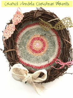 These eleven free crochet wreath patterns will decorate your home for Christmas and other holidays or for any season of the year. Crochet Christmas Wreath, Crochet Wreath, Crochet Bows, Holiday Crochet, Easter Crochet, Crochet Art, Thread Crochet, Free Crochet, Christmas Wreaths