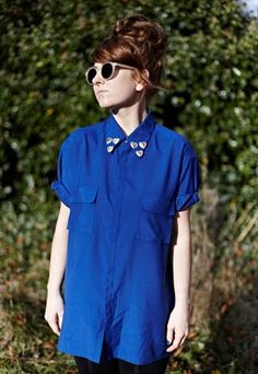 VINTAGE SHIRT WITH HAND SEWN HEART COLLAR DETAIL.  AVAILABLE @ GINGER DOES VINTAGE ON ASOS MARKETPLACE