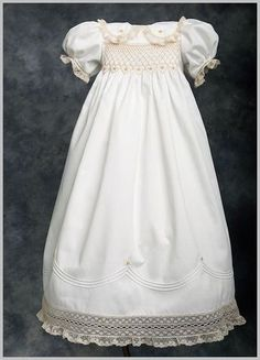 Smocked christening gown I made.