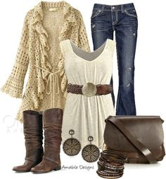 With nicer jeans, this could be a fun, comfy & approachable work outfit, especially in more casual communities. Country Fashion, Country Outfits, Country Chic Clothing, Country Chic Dresses, Mode Outfits, Fashion Outfits, Womens Fashion, Casual Winter Outfits, Fall Outfits