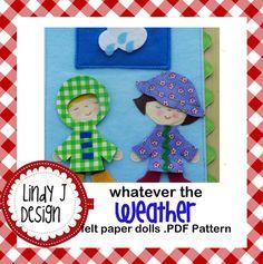 Whatever the Weather 4 Seasons Felt Paper Dolls .PDF PATTERN