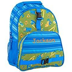 Send your big kid off to school in style with the All Over Print Construction Backpack from Stephen Joseph. Large enough for books, supplies and sports gear, this durable travel companion has a colorful design to help your kid stand out from the crowd. Backpack Reviews, Backpack Online, Personalized Baby Gifts, All Kids, Back Strap, Bedding Shop, School Supplies, Joseph, Car Seats