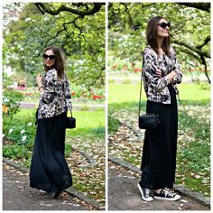 H Sunglasses, Zalando Floral Bomber Jacket, H Bag, Zalando Maxi Dress, Converse Sneakers