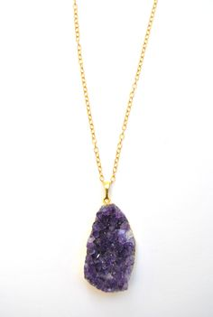 Gold Amethyst Drusy Everyday Pendant http://shop.nylonmag.com/collections/whats-new/products/gold-amethyst-drusy-everyday-pendant