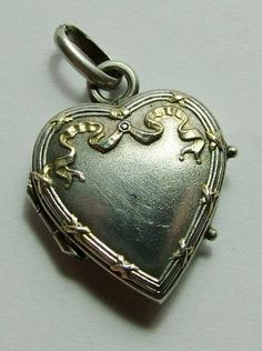Antique Victorian c1900 French Silver Ribbon Heart Locket Charm Antique Charm - Sandy's Vintage Charms
