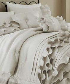Taupe ruffle bed set