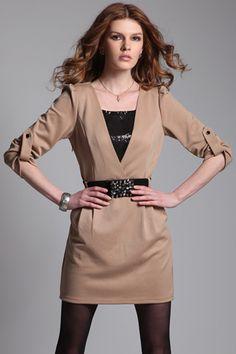 V-neck Camel Autumn Dress
