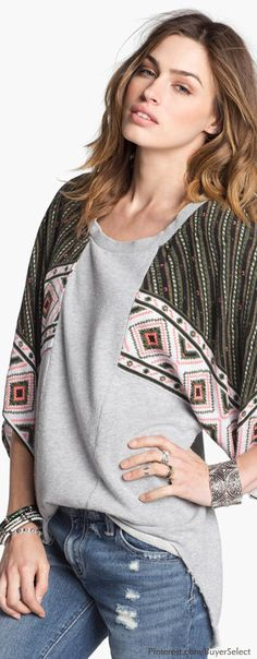 Free People Festival Mixed Media Sweater