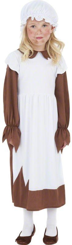 Disfraz de campesina para niña: Este disfraz de campesina para niña está compuesto por un vestido y una cofia (zapatos, panty no incluidos). El traje marrón y blanco se pone con facilidad gracias a una apertura...