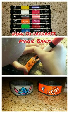 How to decorate Magic Bands. Start by finding the picture you want. Then take a nail polish pen and draw your design.
