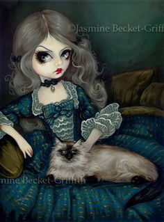 Princess with a Himalayan Cat fairy art print by di strangeling