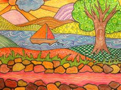 My grade 7 student's work Colour theory/mark-making Small Drawings, Art Drawings For Kids, Landscape Art Lessons, Primary School Art, 7th Grade Art, Spring Art Projects, Madhubani Art, Zentangle Drawings, Art Curriculum