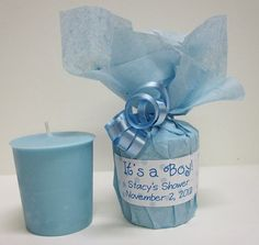It's a Boy Baby Shower Favors - Baby Powder Scented Soy Votives. www.thingsthatmakescents.com