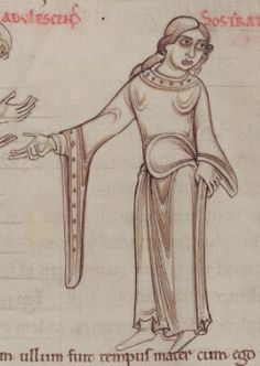 1150 - Terence's Comedies, in Latin, with Romanesque drawings. 93v