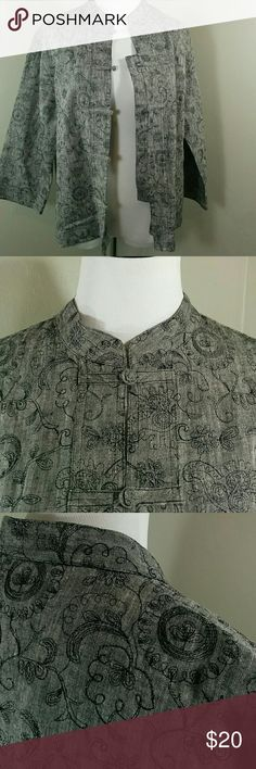 Chico's Design, gray and black blazer Chico's Design, gray blazer with black embroidered design, and Mandarin collar. Excellent used condition. Size 2 (runs large) Chico's Jackets & Coats Blazers