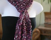 handknit purple shades ladder ribbon trellis scarf .knitted with ICE YARNS LADDER