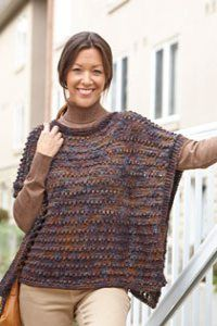 Say hello to your new autumn go-to. The Soft and Sophisticated Poncho is the perfect combination of sleek style and cozy comfort. This delicious knit poncho pattern features warm earth tones and an interesting stitch design for a stylish look. Poncho Knitting Patterns, Knitted Poncho, Knitted Shawls, Loom Knitting, Knit Patterns, Free Knitting, Knitting Machine, Knitting Needles, Knit Or Crochet