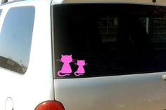 Car Cat Decals, Cat decals, Pink Cat stickers, Car Window decals, cat stickers, pussycat decals, women's right decals, vehicle stickers by BonniePrintsElmo on Etsy