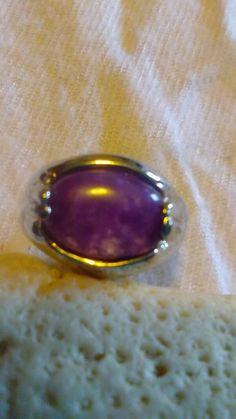 Amethyst Polished Stone Sterling Silver Ring by HandMVintageShoppe on Etsy