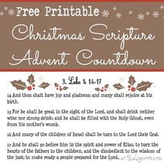 Free Printable Scripture Advent Calendar for Christmas. The biblical account of the Saviors birth broken into 24 days. Wonderful way to keep the true meaning of Christmas the entire month long!
