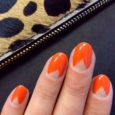 Try an orange chevron mani this Summer