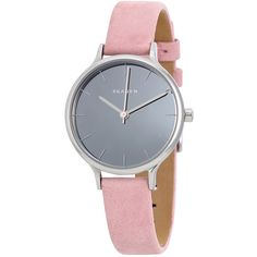 Skagen Anita Mirror Gray Dial Ladies Pink Leather Watch SKW2411 ($75) ❤ liked on Polyvore featuring jewelry, watches, pink wrist watch, mirror watches, skagen jewelry, pink leather watches and skagen