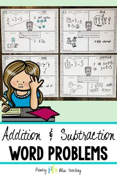 Word problems can be tricky for first graders. This set of addition and subtraction math story problems (with the unknown in all positions) is sure to have your students accurately solving word problems in no time! Grab your set today! Math Story Problems, Word Problems, First Grade Classroom, First Grade Math, Math Fact Practice, Math Fact Fluency, Math Words, Math Strategies, Math Facts