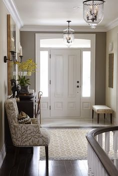 Entryway Rug Design - Call it a foyer, an entryway, an entry hallway, but whatever you call it, it is the space between the fantastic outdoors and your well-thought-out home that isn't necessarily easy to style. House Design, House, House Seasons, Home, New Homes, House Interior, Home Deco, Suburban House, Interior Design