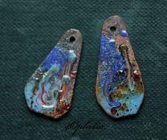 blue amber swirl design copper sticks enamel with glass lampwork jewelry supplies 2pc 4ophelia