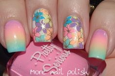Pretty Serious Pastel Pet Names gradient and stamping decals ~ More Nail Polish Nail Design, Nail Art, Nail Salon, Irvine, Newport Beach