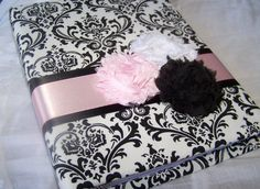 Baby Shower Guest Book - Bridal Shower, Black and White, Light Pink, Blush Pink, Madison Damask, Custom colors available. $55.00, via Etsy.