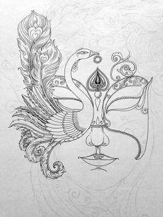 Beautiful face on Behance Cool Art Drawings, Pencil Art Drawings, Art Drawings Sketches, Kalamkari Painting, Madhubani Painting, Mask Drawing, Doodle Art Designs, Pen Art, Mandala Art