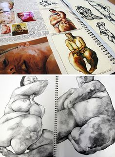 Sketch Book Jenny Saville research pages by Robyn Yeang: love Saville's subject matter - Looking for art sketchbook ideas? This article showcases inspirational high school sketchbooks - inspiration for the student and teacher. A Level Art Sketchbook, Sketchbook Layout, Artist Sketchbook, Sketchbook Inspiration, Sketchbook Ideas, Life Drawing, Figure Drawing, Painting & Drawing, Jenny Saville
