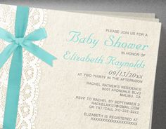 Teal Bow & Lace Baby Shower Invitations  Invites by InvitationSnob, $21.50
