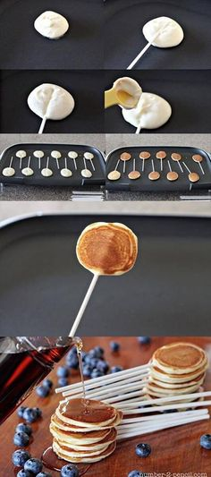 Pancake on a stick! Pancake lollipops!