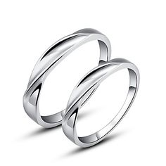 Simple 925 Sterling Silver Couples Rings – GBP £ 27.28