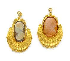 A Pair of Antique Gold and Cameo Ear Pendants, circa 19th Century. Available at FD Gallery. www.fd-inspired.com