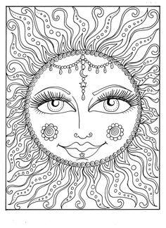 Instant Download SUN Summer Coloring page Adult by ChubbyMermaid Davlin Publishing #adultcoloring