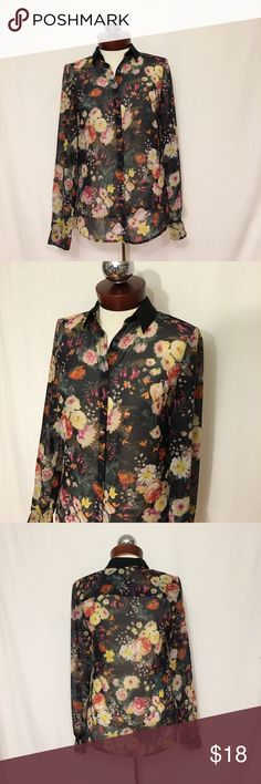 MNG Mango collection sheer floral crepe garden Excellent condition! Stunning Floral crepe with a covered button placket. Solid collar. Garment is sheer and may require appropriate undergarmemts. Polyester bust 36 length 26 Mango Tops Button Down Shirts