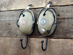 Vintage Headphone Hangers Wall Hooks Pair of 1970's by jtbaldwin